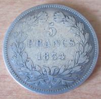 France - Monnaie 5 Francs Louis Philippe 1834 W En Argent - Achat Immédiat - France