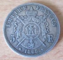 France - Monnaie 5 Francs Napoléon III Tête Laurée 1868 A En Argent - Achat Immédiat - France
