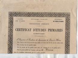VP14.344 - MELUN 1900 - Ecole Public De QUINCY - Certificat D'Etudes Primaires Elémentaires 26 X 37 - Mr Jules NEVEUX - Diplômes & Bulletins Scolaires