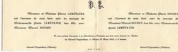 -- FAIRE PART DE MARIAGE - CORVOL L'ORGUEILLEUX (Nièvre) 1943 -- - Mariage
