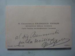 """Biglietto Da Visita Manoscritto """"T. Colonnello FRANCESCO NICOLIS MINISTERO DELLA GUERRA Roma"""" - Cartoncini Da Visita"""