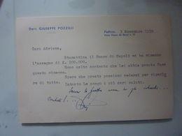 """Biglietto Da Visita Dattiloscritto """"Dott. Giuseppe Pozzilli Padova 3 Novembre 1959"""" - Cartoncini Da Visita"""