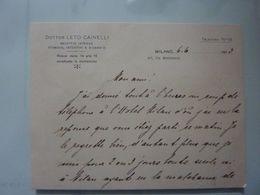 """Cartoncino Manoscritto """"Dottor LETO CAINELLI MALATTIE INTERNE, STOMACO, INTESTINI,ECC.  Milano"""" - Cartoncini Da Visita"""