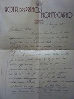 """Lettera Manoscritta Su Carta Intestata """"HOTEL DES PRINCES MONTE CARLO"""" 1 Marzo 1937 - Pubblicitari"""