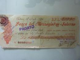 """Assegno """"BANCO DEL MEZZOGIORNO - SALERNO Lire 2.500"""" 17 Aprile 1926 - Assegni & Assegni Di Viaggio"""