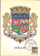 ORAN - BLASON -ECUSSON -CARTE MAXIMUM PREMIER JOUR 15- 10-60 - Oran