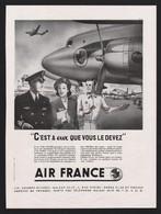 Pub Papier 1949  Voyage Avion Aviation Compagnie Aerienne AIR FRANCE - Publicités