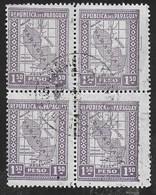 PARAGUAY - 1928 - CARTA DEL PARAGUAY - I,50 PESOS - QUARTINA USATA - (YVERT 273 / MICHEL 285) - Paraguay