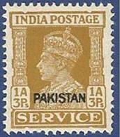 PAKISTAN 1948 MNH KING GEORGE VI BRITISH INDIA 1 ANNA 3 PIES SERVICE STAMP WITH KARACHI OVERPRINT - Pakistan