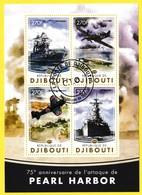 Bloc Feuillet Oblitéré - 75ème Anniversaire De L'attaque De PEARL HARBOR - N° 989-992KB (Michel) - Djibouti 2016 - Dschibuti (1977-...)