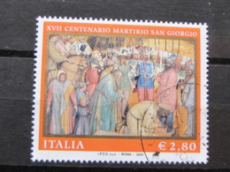 *ITALIA* USATI 2004 - 17 CENT MARTIRIO SAN GIORGIO - SASSONE 2760 - LUSSO/FIOR DI STAMPA - 6. 1946-.. Repubblica