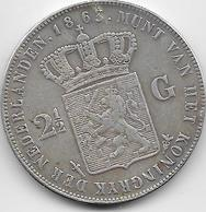 Pays Bas - 2,5 Gulden - 1863 - Rare - Argent - 1849-1890 : Willem III