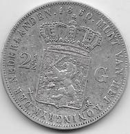 Pays Bas - 2,5 Gulden - 1850 - Argent - [ 3] 1815-… : Kingdom Of The Netherlands