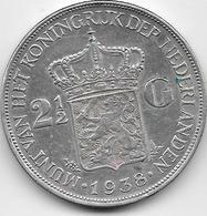Pays Bas - 2,5 Gulden - 1938 - Argent - 2 1/2 Gulden