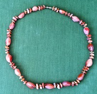 Women Pink- Red Stone Chain Necklace, 63 Cm 91 Grams - Gioielli & Orologeria