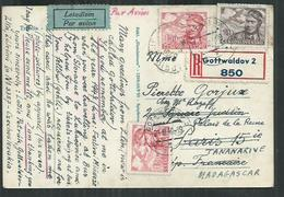 Tchecoslovaquie.Carte Postale Recommandée, Registered Postcard From Gottwaldov To Paris And Madagascar - Cartas