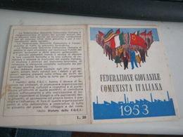 TESSERA FEDERAZIONE GIOVANILE COMUNISTA ITALIANA 1953 - Vecchi Documenti