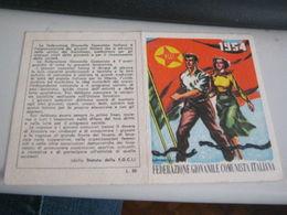 TESSERA FEDERAZIONE GIOVANILE COMUNISTA ITALIANA 1954 - Vecchi Documenti