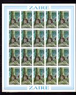 1984  ++ Zaïre, Okapi  Johnstoni, 1253 /1256** En Feuille De 20 NON DENTELES, Cote 260 € - Zaïre