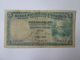 Albania 5 Franka Ari/Franchi Oro/Gold Francs 1926 Banknote - Albania
