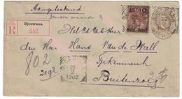 Lettre, Entier Postale, Recommandée Des Indes Néerlandaise Départ Djoewana => Buitenzorg (Bogor)  22-02-1902 Avec Sceau - Indes Néerlandaises