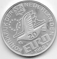 Pays Bas - 20 Euro - 1998 - Argent - [ 3] 1815-… : Kingdom Of The Netherlands