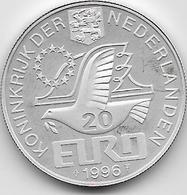 Pays Bas - 20 Euro - 1996 - Argent - [ 3] 1815-… : Royaume Des Pays-Bas