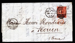 A5803) UK Grossbritannien Brief Neath 03.12.67 N. Rouen / France M. EF Mi.24 - 1840-1901 (Viktoria)