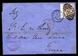 A5804) UK Grossbritannien Brief Swansea 28.03.73 N. Genoa / Italien EF Mi.38 Pl.11 Breit - 1840-1901 (Viktoria)