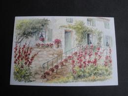 CPM ART - PEINTURE - ESCALIER FLEURI - AQUARELLE ORIGINALE DE D LEBEAU - Peintures & Tableaux