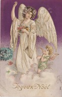 CARTE   GAUFREE   ANGE  ANGELOT,   SUR CARTE JOYEUX NOEL - Angels