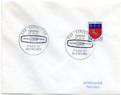 CACHET TEMPORAIRE Illustré = 29 BEG MEIL 1967 =  'CAR-EXPOSITION Des PTT / INTER CHAMPIONS - Postmark Collection (Covers)