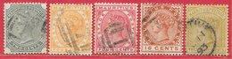 Maurice N°69 à 71, 73, 74 (filigrane CA, Dentelé 14) 1882-91 O - Mauritius (...-1967)