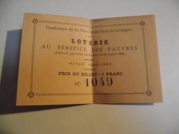 LIMOGES, Ticket Loterie, Au Bénéfice Des Pauvres, 1889, St Vincent De Paul - Billets De Loterie