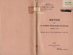 MANUEL MILITAIRE De 1955 NOTICE La Carabine D'instruction De 5,5 Mm Mdle 1945 - Equipement