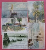 Lot 5 Old Postcards - Cartoline