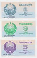 Uzbekistan SET - 1 3 5 Sum 1992 - UNC - Uzbekistan