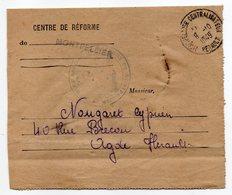 """1949-Document De MONTPELLIER Pour AGDE-34-cachet Daguin """"AGDE-son Musée,sa Cathédrale,ses Plages """"-Franchise Militaire - 1921-1960: Periodo Moderno"""
