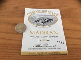 étiquette Vin 1976 1,48L«MADIRAN - Domaine Bouscassé - ALAIN BRUMONT - MAUMUSSON (32)» - Madiran