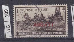 ITALIA   1951AMG FTTF.P. Michetti Usato - Gebraucht
