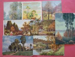 Lot 8 Old Views Of Landscapes - Art Postcards - Cartoline
