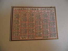 CALENDRIER , 1893, Carte Recto Verso - Kalenders