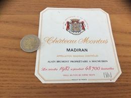 étiquette Vin 1982 «MADIRAN - Château Montus - ALAIN BRUMONT - MAUMUSSON (32)» - Madiran