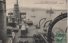 MARINE MILITAIRE   LE PONT BABORD ARRIERE D'UN CUIRASSE    CACHET BREST   1910 - Warships