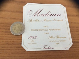 étiquette Vin 1982 37,5 Cl «MADIRAN - ALAIN BRUMONT - MAUMUSSON (32)» - Madiran