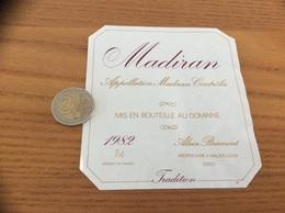 étiquette Vin 1982 75 Cl «MADIRAN - ALAIN BRUMONT - MAUMUSSON (32)» - Madiran