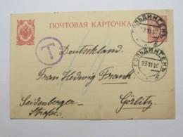 1911  , Ganzsache  Verschickt  Nach Görlitz, Nachporto - Briefe U. Dokumente