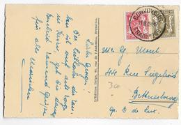 1938 - BELGIQUE - CARTE De YVOIR SUR MEUSE Avec CONVOYEUR TRAIN N° 1208 => BETTEMBOURG (LUXEMBOURG) - Marcophilie