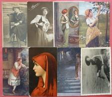 Mixed Lot 8 Old Post Postcards And Original Photos - Beutiful Womans - Schöne Frau - 5 - 99 Karten