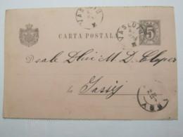 1892  , VASLUIU,  Klarer  Stempel Auf Ganzsache - Briefe U. Dokumente